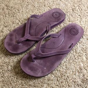 Ugh purple leather flip flops
